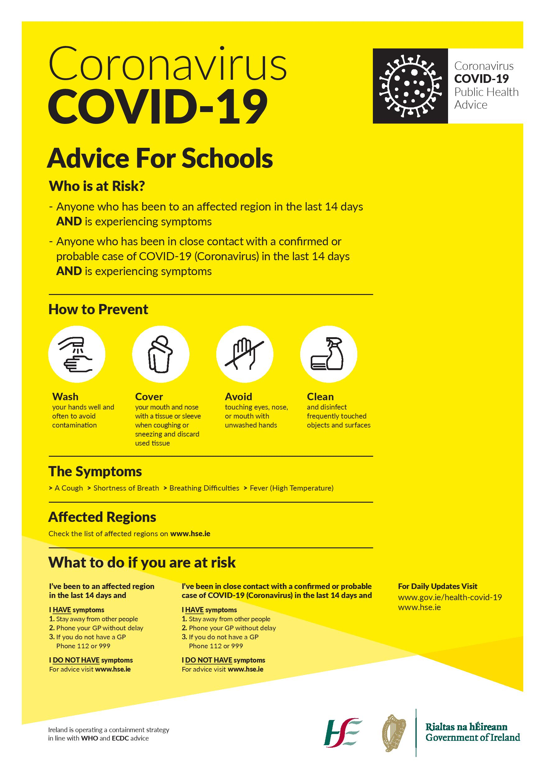 covid 19 poster advice for schools